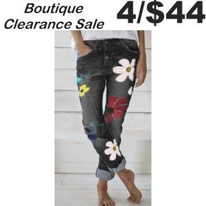 Charcoal High Rise Retro Cool Flower Jeans